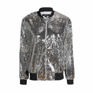 Sequin Bomber Jacket - Woman's Jackets Loom Rack Sliver S