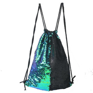 Sequin Drawstring Bag Sequin Bags Loom Rack Blue-Black