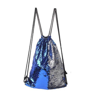 Sequin Drawstring Bag Sequin Bags Loom Rack Blue-Silver