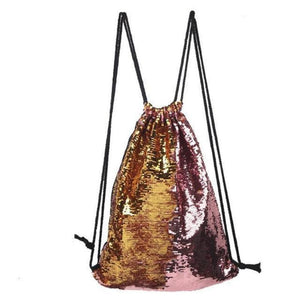 Sequin Drawstring Bag Sequin Bags Loom Rack Golden-Pink
