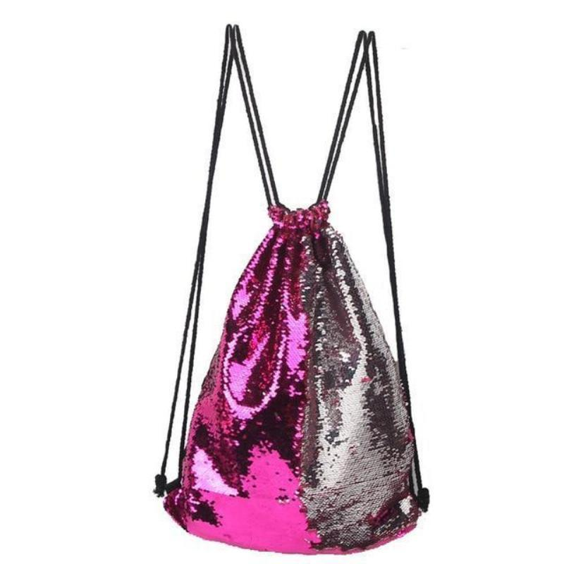 Sequin Drawstring Bag Sequin Bags Loom Rack Pink-Silver
