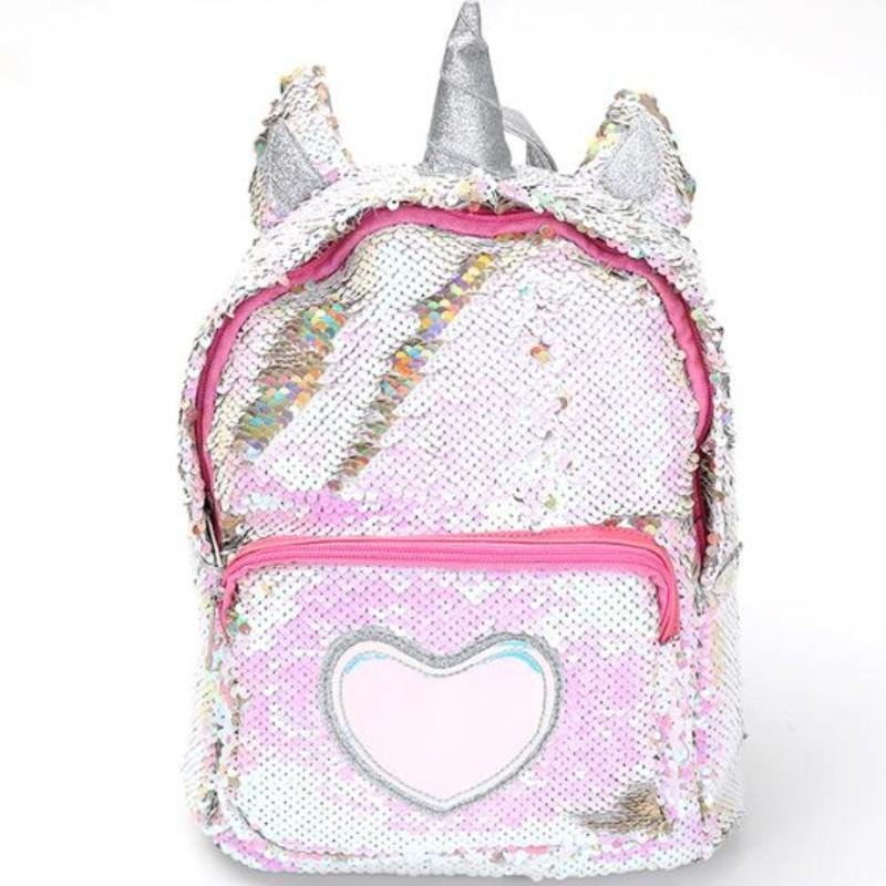Sequin Unicorn Backpack Sequin Bags Loom Rack Silver