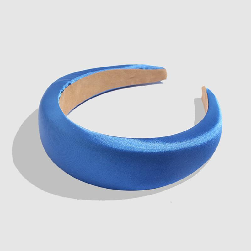 Silk Chunky Padded Headband Headbands Loom Rack Blue