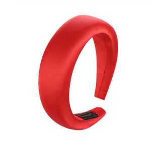 Silk Chunky Padded Headband Headbands Loom Rack Red