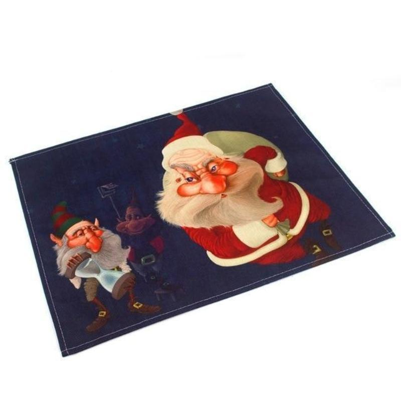 Silly Santa Christmas Linen Placemats Christmas Accessories Loom Rack Santa Claus holding presents with Elf