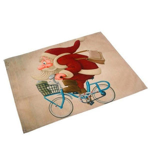 Silly Santa Christmas Linen Placemats Christmas Accessories Loom Rack Santa Claus on Bicycle