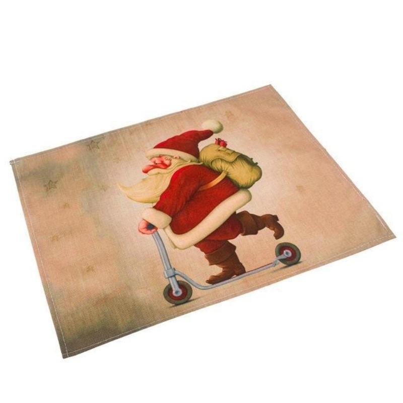 Silly Santa Christmas Linen Placemats Christmas Accessories Loom Rack Santa Claus on Scooter