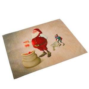 Silly Santa Christmas Linen Placemats Christmas Accessories Loom Rack Santa Claus Packing Gifts