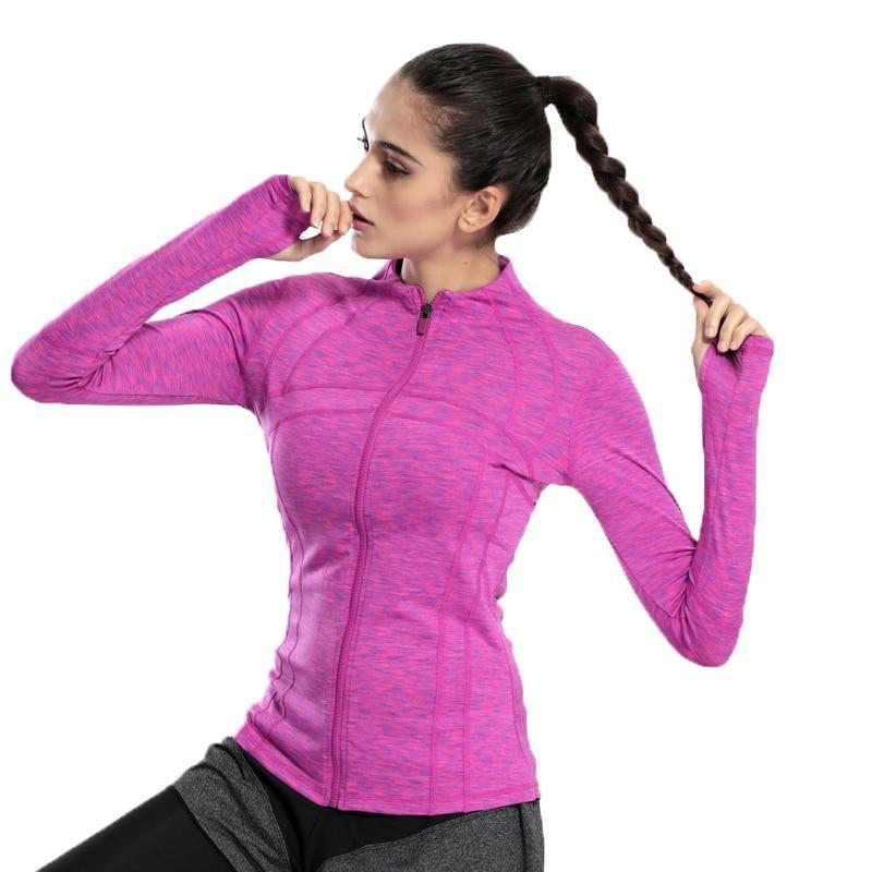 Slim Fit Quick Dry Zipper Running Yoga Jacket Sports Jackets Loom Rack Purple S