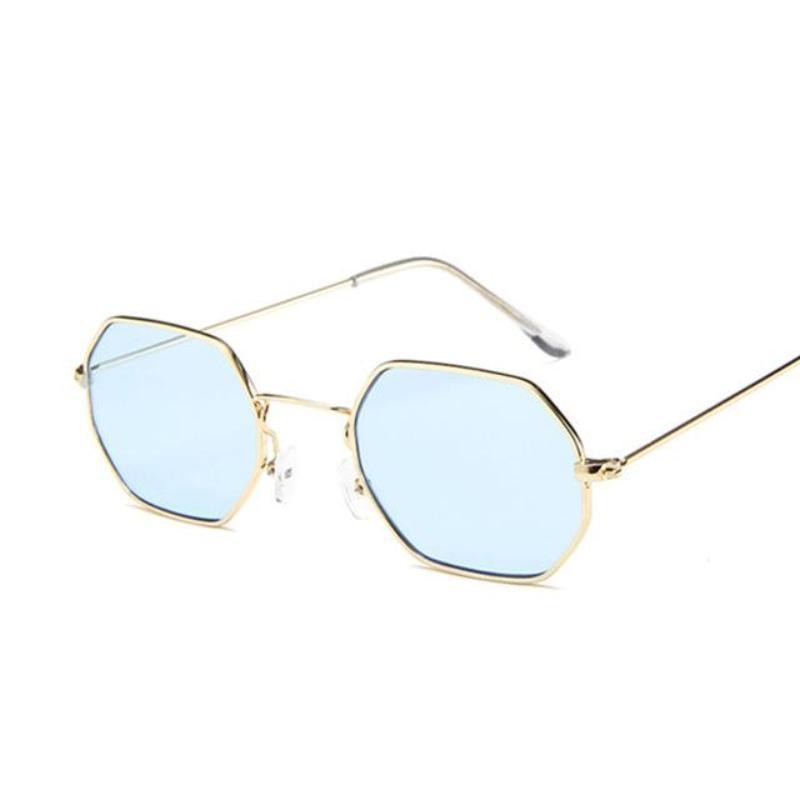 Small Vintage Metal Hexagon Frame Sunglasses Sunglasses Loom Rack Gold Blue