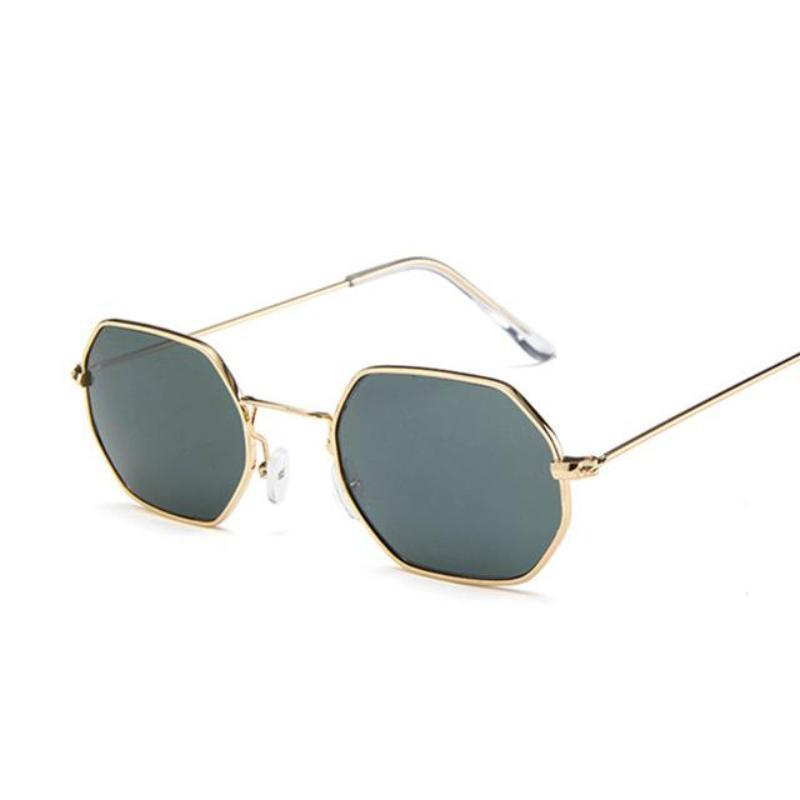 Small Vintage Metal Hexagon Frame Sunglasses Sunglasses Loom Rack Gold Dark Green