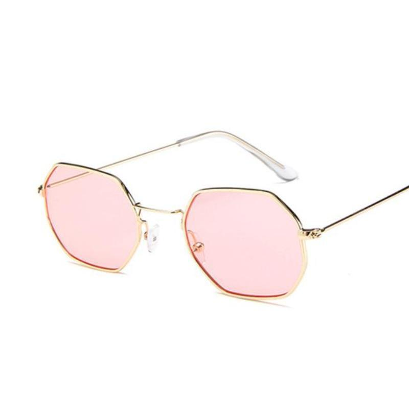 Small Vintage Metal Hexagon Frame Sunglasses Sunglasses Loom Rack Gold Pink