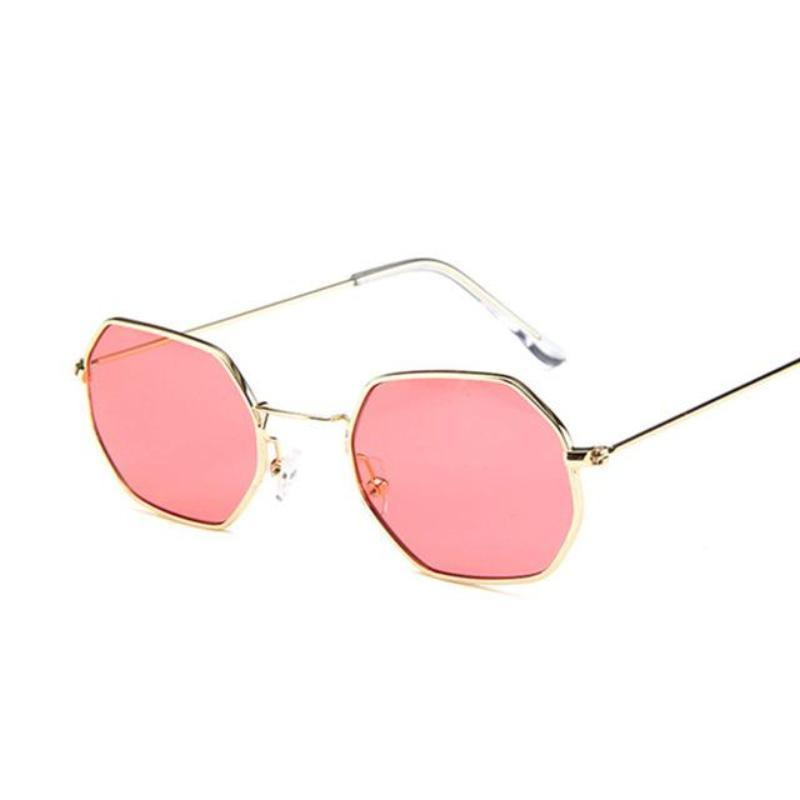 Small Vintage Metal Hexagon Frame Sunglasses Sunglasses Loom Rack Gold Red