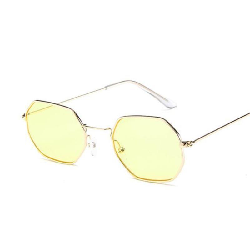 Small Vintage Metal Hexagon Frame Sunglasses Sunglasses Loom Rack Gold Yellow