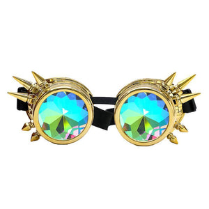 Spiked Kaleidoscope Sunglasses Sunglasses Loom Rack Gold