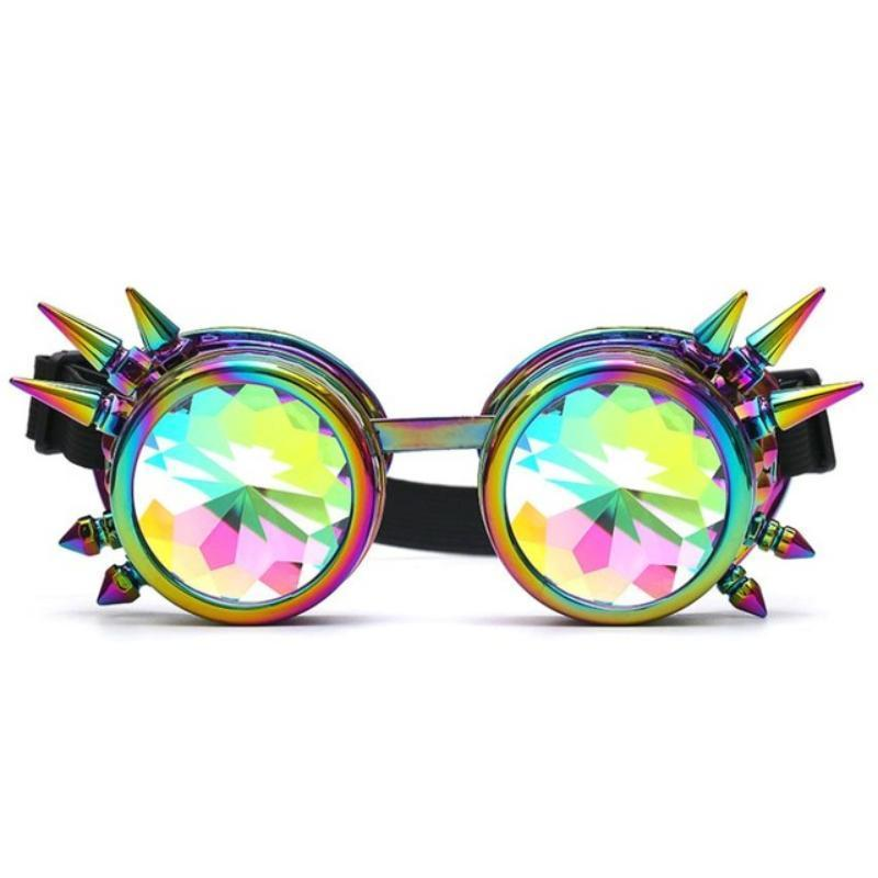 Spiked Kaleidoscope Sunglasses Sunglasses Loom Rack Multicolor