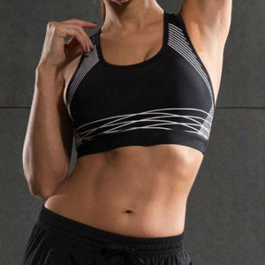 Spiral Reflective Sports Bra Sports Bras Loom Rack Black White XL