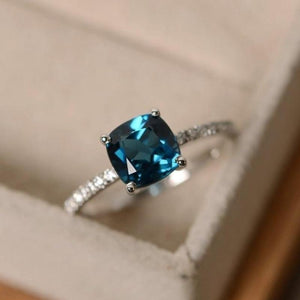 Square Birthstone Ring Rings Loom Rack 6 Crystal Blue