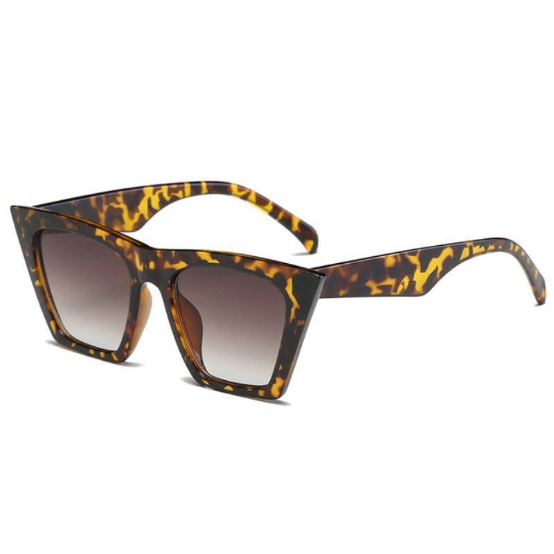 Squared Cat Eye Frames Sunglasses Loom Rack Leopard-Brown