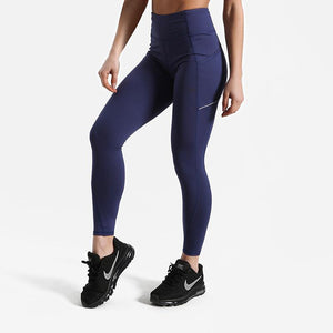 Squat Proof High Waist Leggings with Side Pocket Leggings Loom Rack Blue XS