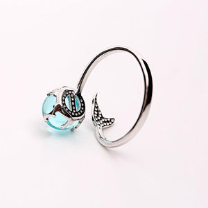 Sterling Silver Mermaid Crystal Ball Ring Rings Loom Rack