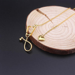 Stethoscope Heart Pendant Necklace Pendant Necklaces Loom Rack Gold