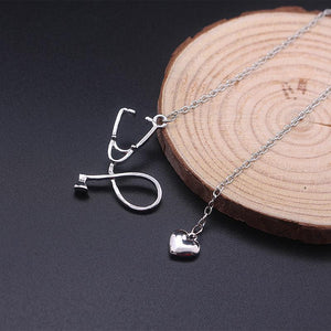 Stethoscope Heart Pendant Necklace Pendant Necklaces Loom Rack Silver
