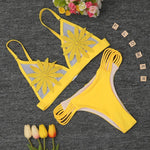 Strappy Flower Brazilian Cut Bikini Swimsuits 2019 Loom Rack Yellow S