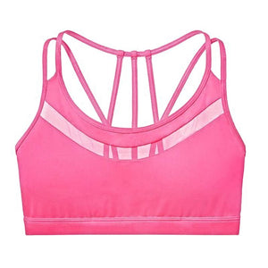 Strappy Mesh Push-up Workout Bralette Sports Bras Loom Rack Pink L
