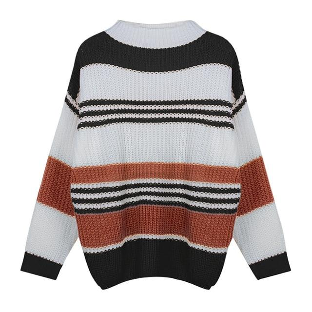 Striped Long Sleeve Sweater Clothing Loom Rack Black S