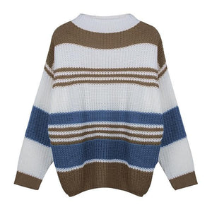 Striped Long Sleeve Sweater Clothing Loom Rack Blue S