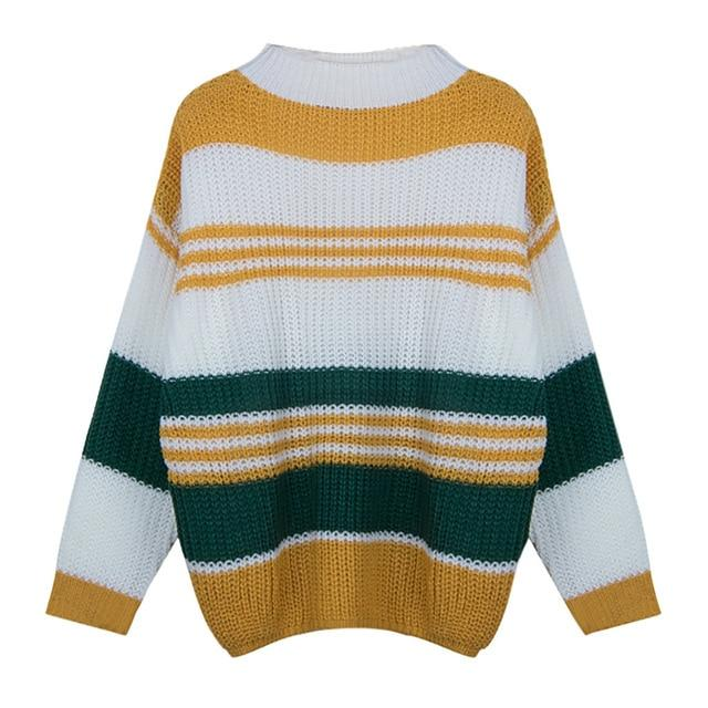 Striped Long Sleeve Sweater Clothing Loom Rack Yellow S