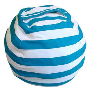 Stuffed Animal Toy Storage Bean Bag Baby Accessories Loom Rack Diameter 140CM Light Blue Stripes United States