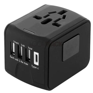 The Best Universal Travel Adapter Travel Accessories Loom Rack Black 3-USB/1-Type C
