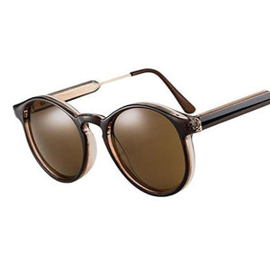 Thick Frame Round Vintage Shades Sunglasses Black
