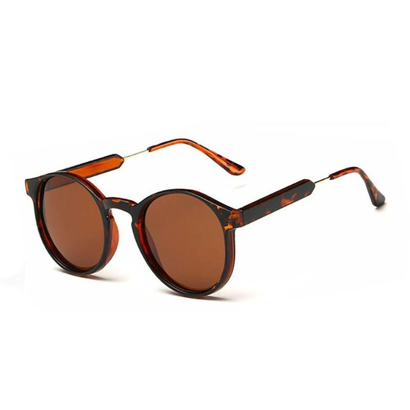 Thick Frame Round Vintage Shades Sunglasses Leopard
