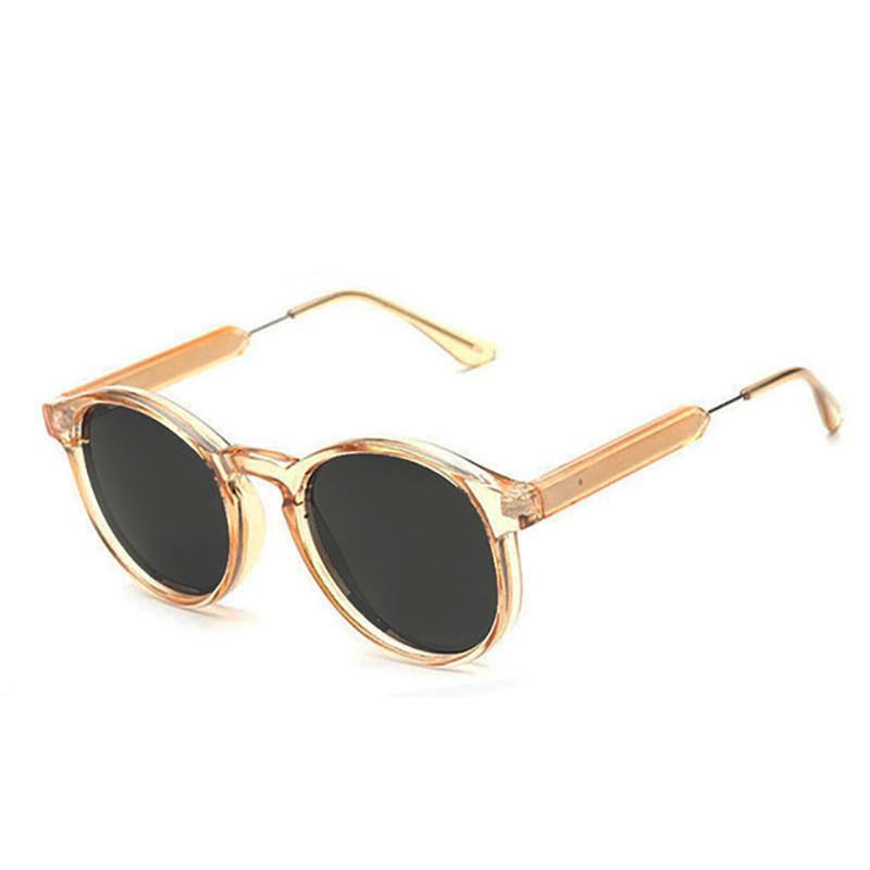 Thick Frame Round Vintage Shades Sunglasses Loom Rack Champagne