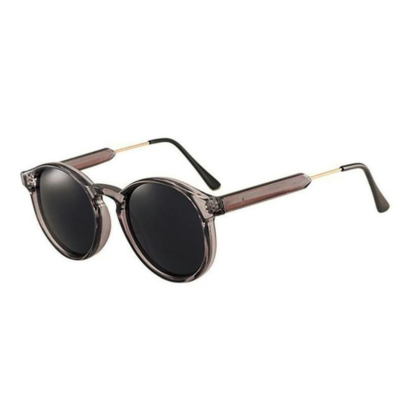 Thick Frame Round Vintage Shades Sunglasses Loom Rack Transparent Grey