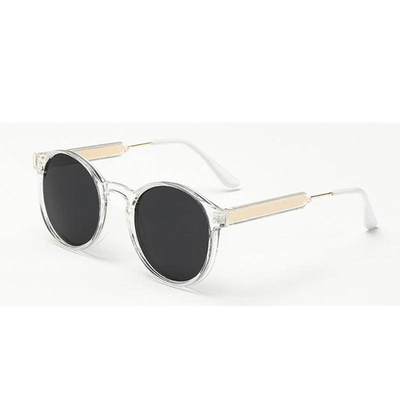 Thick Frame Round Vintage Shades Sunglasses Transparent