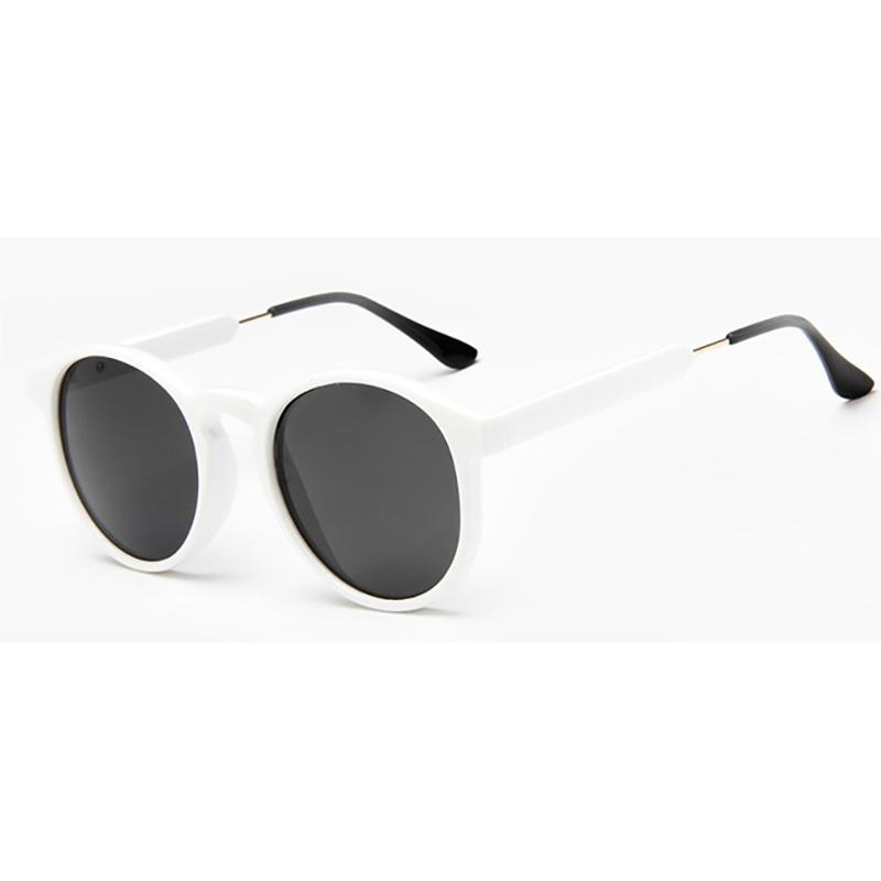 Thick Frame Round Vintage Shades Sunglasses White