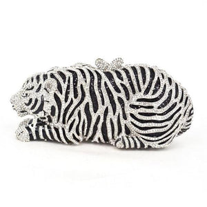 Tiger Crystal Evening Clutch Evening Bags Loom Rack Silver Tiger Purse