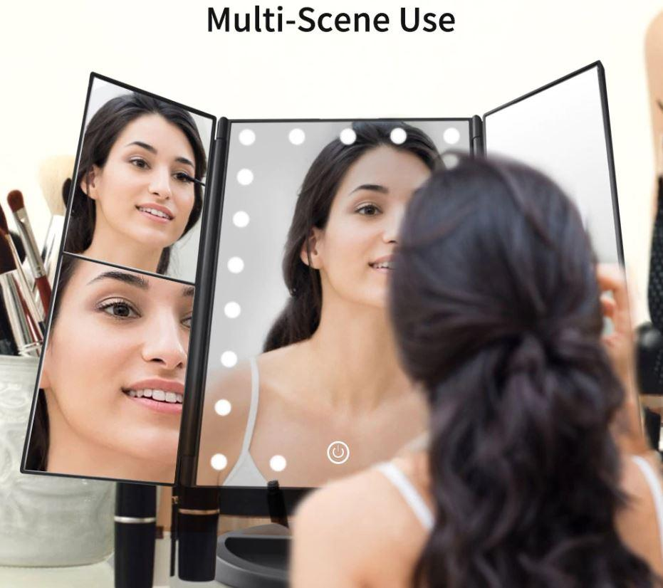 Touchscreen LED Light Mirror Makeup Accessories Loom Rack