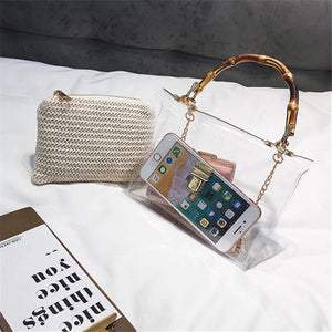 Transparent Rattan Bag with Bamboo Handle Rattan Bags Loom Rack