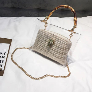 Transparent Rattan Bag with Bamboo Handle Rattan Bags Loom Rack Beige