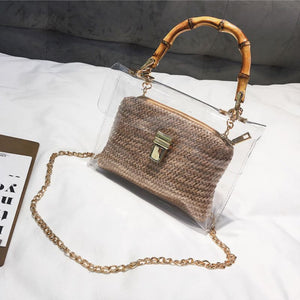 Transparent Rattan Bag with Bamboo Handle Rattan Bags Loom Rack Khaki