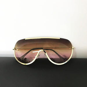 Trendy Shield Feminine Sunglasses Sunglasses c1 gold clear / Gold