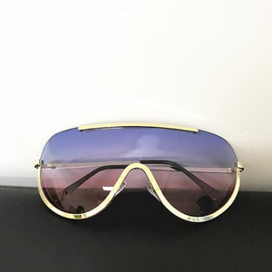 Trendy Shield Feminine Sunglasses Sunglasses Loom Rack Blue Pink Gold