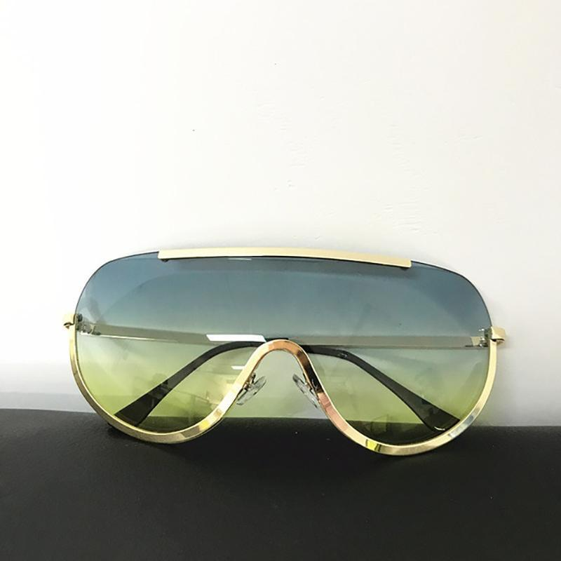 Trendy Shield Feminine Sunglasses Sunglasses Loom Rack Green Yellow Gold