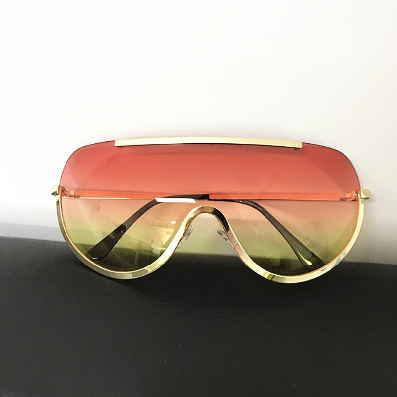 Trendy Shield Feminine Sunglasses Sunglasses Loom Rack Red Yellow Gold