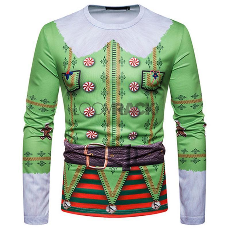 Ugly Christmas Sweater Long Sleeve T-Shirt - Elf Christmas Ugly Sweaters Loom Rack S